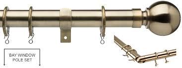 Universal Curtain Track Universal 28mm Metal Bay Window Curtain Pole Antique Brass Ball