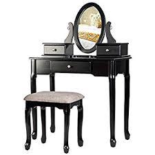 Makeup Vanity With Chair Amazon Com Bathroom Vanity Table Jewelry Makeup Desk Bench Drawer