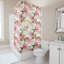 Custom Bathroom Shower Curtains Hummingbirds And Astrantia Monogram Watercolor Shower Curtain
