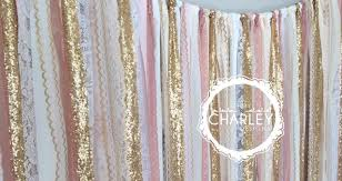 wedding backdrop garland pink gold sparkle sequin fabric backdrop with lace wedding