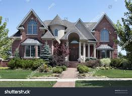 brick home turret arched entry stock photo 83241565 shutterstock