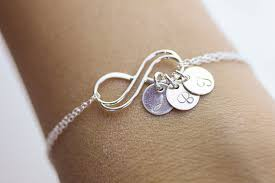 Infinity Bracelet With Initials Personalized Infinity Bracelet Initials Silver Double