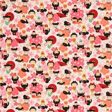 anime wrapping paper pink orange flower character flower anime fabric