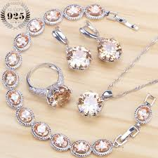 bridal necklace sets silver images Hot sale champagne cubic zirconia bridal jewelry sets earrings for jpg
