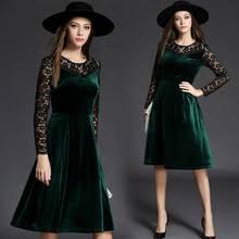 high quality green long velvet dress elegant buy cheap green long