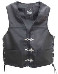 motorcycle waistcoat mens leather waistcoat biker vest sides laced up fish hook