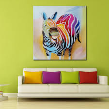 Abstract Wall Mural Modern Canvas Art Cartoon Animal Happy Horse Oil Painting Abstract
