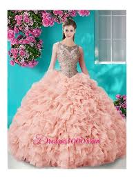 fifteen dresses see through beaded scoop sweet fifteen dresses in chagne