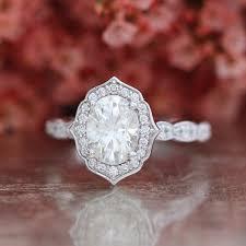 scalloped engagement ring forever one moissanite vintage floral engagement ring in 14k