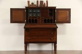 Wood Secretary Desk by Furniture Brown Varnished Mahogany Wood Secretary Desk With