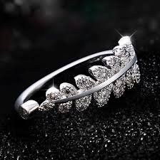small fashion rings images Silver plated micro mosaic flare cubic zirconia small leaf ring jpg