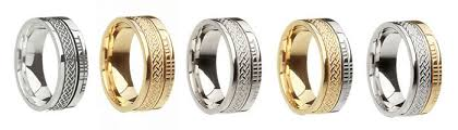 celtic weave wedding bands with ogham script