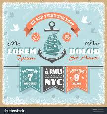Wedding Invitations Nautical Theme - nautical wedding invitation designed nautical elements stock