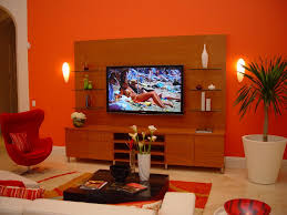 apartment casual decoration with orange wooden rectangular dining