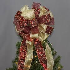 burgundy gold swirl christmas tree topper bow 13