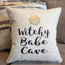 witchy cave cotton canvas natural pillow witch pillow