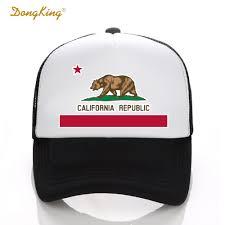 California Flag Bear Dongking Fashion Trucker Hat California Flag Snapback Mesh Cap