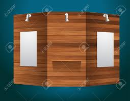 exhibition stand with wood texture vector illustration modern