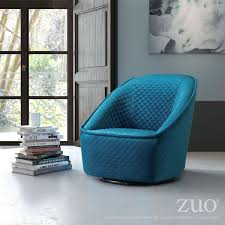 Contemporary Swivel Armchair Pug Swivel Chair Aquamarine By Zuo Modern