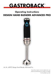 gastroback design advanced pro gastroback 40975 design blender advanced pro user manual 17
