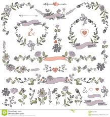 colored doodles floral decor set wreath borders stock vector