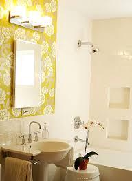 interior sweet modern yellow and white bathroom decoration using