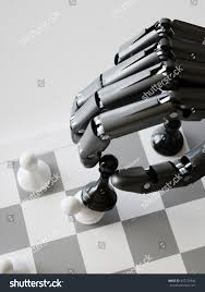 artificial intelligence playing chess concept robot beating chess