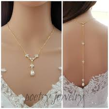 back necklace gold images Gold back drop bridal necklace pearl crystal necklace wedding jpg