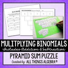 multiplying binomials pyramid sum puzzle by all things algebra tpt