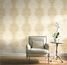 glitter damask quality wallpaper vinyl finish gold amazon co uk