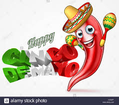 cartoon sombrero a happy cinco de mayo mexican design with red chilli pepper