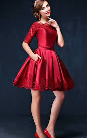 half long sleeves burgundy lace homecoming dresses high neck wine