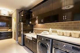Room With Espresso Cabinetry And Beige Subway Tile Backsplash - Brown subway tile backsplash