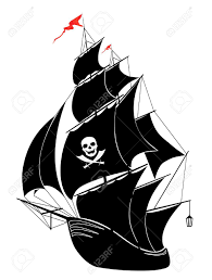 a silhouette of a old sail pirate ship vector illustration