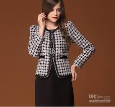 wool coat jackets suit fashion women work wear plaid elegant women