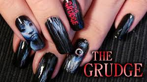 The Grudge Inspired Nail Art Tutorial Halloween Horror Youtube