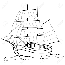 drawn boat nautical ship pencil and in color drawn boat nautical