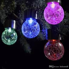 2017 solar powered color changing outdoor led light crackle