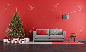 modern christmas living room with sofa tree and present