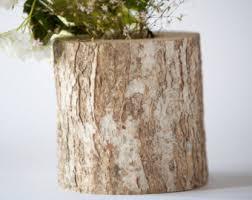 Rustic Wedding Log Vase Wooden Vase Flower Vase Woodland - Rustic accents home decor