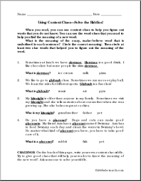 context clues worksheets multiple choice u0026 fifth grade language
