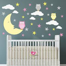 magical moon owls luxury nursery wall stickers magical moon owls nursery wall art stickers