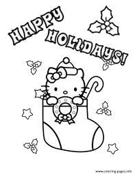 hello kitty mistletoe stocking christmas coloring pages printable