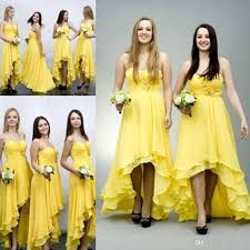 cheap yellow chiffon high low bridesmaid dresses spaghetti pleats