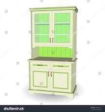 set wood cupboards 3d isolated style stock vector 439340542
