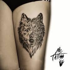 with left thigh mandala wolf