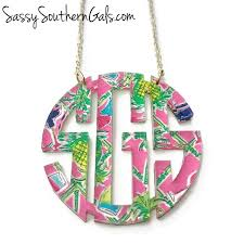 monogram necklace acrylic lilly pulitzer inspired monogrammed necklace acrylic monogram