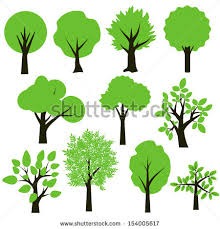 trees simple green black set stock vector 154005617