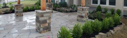 Flagstone Patio With Pergola Custom Landscaping Services U0026 Flagstone Pavers Houston Tx