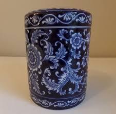 blue kitchen canister pier 1 mandarin cobalt blue white floral ceramic 7 25 x 5 5